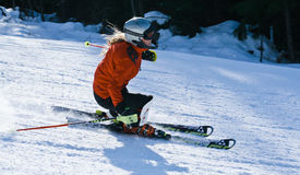 Skifahrerdame Stockfoto