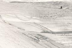 Skifahrerschattenbild Stockfoto