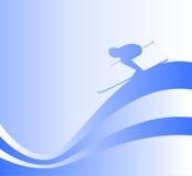 Skifahrerschattenbild Lizenzfreies Stockbild