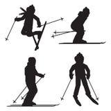Skifahrerschattenbild-Ikonensatz lokalisiert Springen, Freistil, Abfahrtskilaufsportler Stockfotos