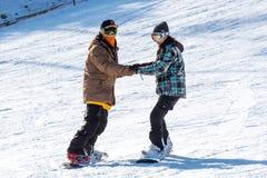 Skifahrerskifahren auf Deogyusan Ski Resort Stockfotografie