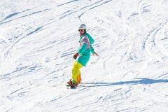 Skifahrerskifahren auf Deogyusan Ski Resort Stockbild