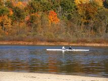 Skiff on autumn lake. Skiff rowing by against autumn backdrop Royalty Free Stock Photo
