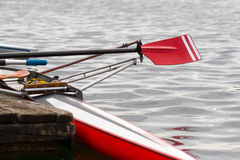 Skiff at the landing stage. Ready to start the training Royalty Free Stock Images
