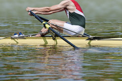 Skiff rower. Explodes into action at the starting signal of a rowing match Royalty Free Stock Image