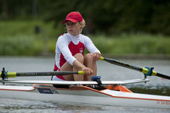 Skiff rowing. BOSBAAN, AMSTERDAM - JULY 23: Monika Kowalska (Poland Lightweight Women's single scull) looks over her shoulder in concentration before the start Royalty Free Stock Images