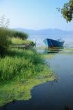 Skiff sul lago Immagine Stock