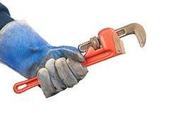 skiftnyckel för holdingmanrörmokare royaltyfri bild