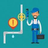 Skiftnyckel och le för rör för Repairman hållande royaltyfri illustrationer