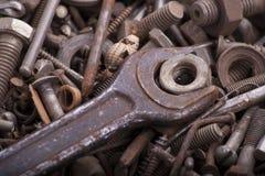 Skiftnyckel och mutter Royaltyfria Foton