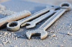 Skiftnycklar i förkylningen Arkivfoton
