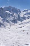Skigebied dichtbij Rettenbach-Gletsjer, Solden, Oostenrijk Stock Foto