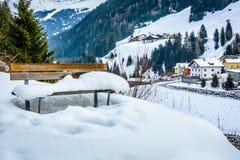 Skii semesterort Ischgl i Österrike Fotografering för Bildbyråer