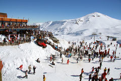 People in ski resort stock image