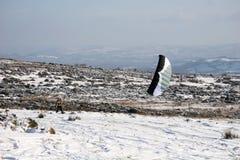 skiier的风筝 免版税库存照片