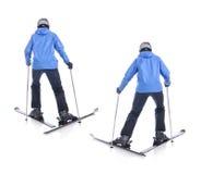 Skiier демонстрирует как сползти вперед Стоковые Фотографии RF