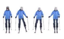 Skiier展示如何移动斜向一边 逐步 免版税库存图片