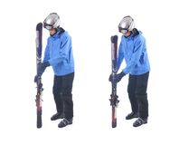 Skiier demonstrate how to connect skis and prepare for carrying. Stock Images
