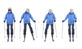 Skiier demonstrate how to move sideways. Step by step. Royalty Free Stock Images