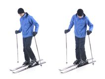 Skiier demonstrate how to put on the skis Stock Photography