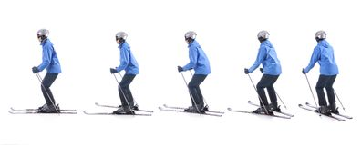 Skiier demonstrate how to turn around the tails of skis Stock Photography