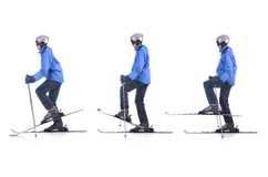 Skiier demonstrate how to use balance exercise in skiing Stock Image