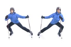 Skiier demonstrate warm up exercise for skiing Stock Photos
