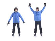 Skiier demonstrate warm up exercise for skiing Royalty Free Stock Photo