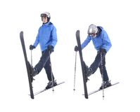 Skiier demonstrate warm up exercise for skiing Royalty Free Stock Image