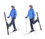 Skiier demonstrate warm up exercise for skiing Stock Images