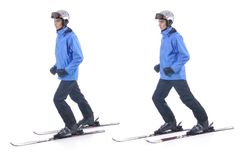 Skiier demonstrate warm up exercise for skiing Stock Photo