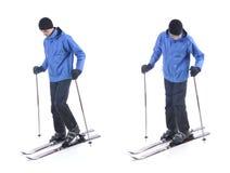 Skiier demonstrieren, wie man an die Skis setzt Stockfotografie