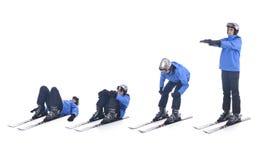 Skiier demuestra el ejercicio del calentamiento para esquiar Imagenes de archivo
