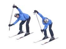 Skiier demuestra el ejercicio del calentamiento para esquiar Foto de archivo libre de regalías