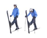 Skiier dimostra l'esercizio di riscaldamento per sciare Immagine Stock Libera da Diritti
