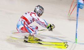 Skiier Julien Lizeroux skiing at a slalom event Royalty Free Stock Photography
