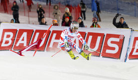 Skiier Julien Lizeroux skiing at a slalom event Royalty Free Stock Photos
