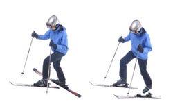 Skiier toont aan hoe te op skis bergop te zetten Stock Fotografie