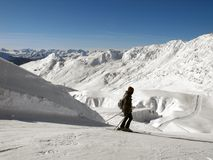 Skiier and a view, Champagny. Royalty Free Stock Images