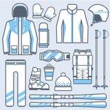 Skiikonen eingestellt Gebirgsskifahrengang und Zubehörsammlung Wintersport und Tätigkeitsskifahrenausrüstungsvektor Lizenzfreies Stockfoto
