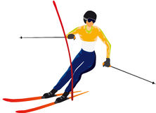 Skiing. Vectors illustration shows the skier skiing slalom vector illustration