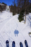 Skiing. View from a ski lift Stock Photography