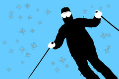 Skiing. Illustration of skier and snow flakes Royalty Free Stock Photos