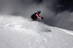 Skiing. Woman skiing in fresh Utah powder Stock Photos