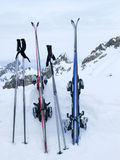 After skiing. Two pairs of skies in snow Royalty Free Stock Photos