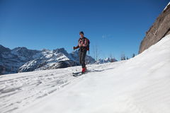 Skiing. One man is skiing in nature on a sunny day Stock Image