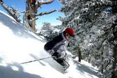 Skiing. Backcountry powder skiing Stock Photo