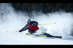 Skiing. Young man skiing in Tianshan mountains Royalty Free Stock Images