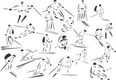 Skiing. 20 themed EPS images of skiers. The number of vector nodes is absolute minimum. The images are very easy to use and edit and are extremely smooth even Royalty Free Stock Image