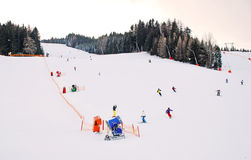 Skiing. A beautiful day for skiers Royalty Free Stock Image